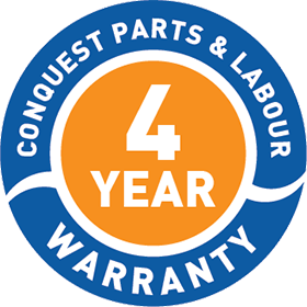 Conquest 4 Year Parts and Labour Warranty