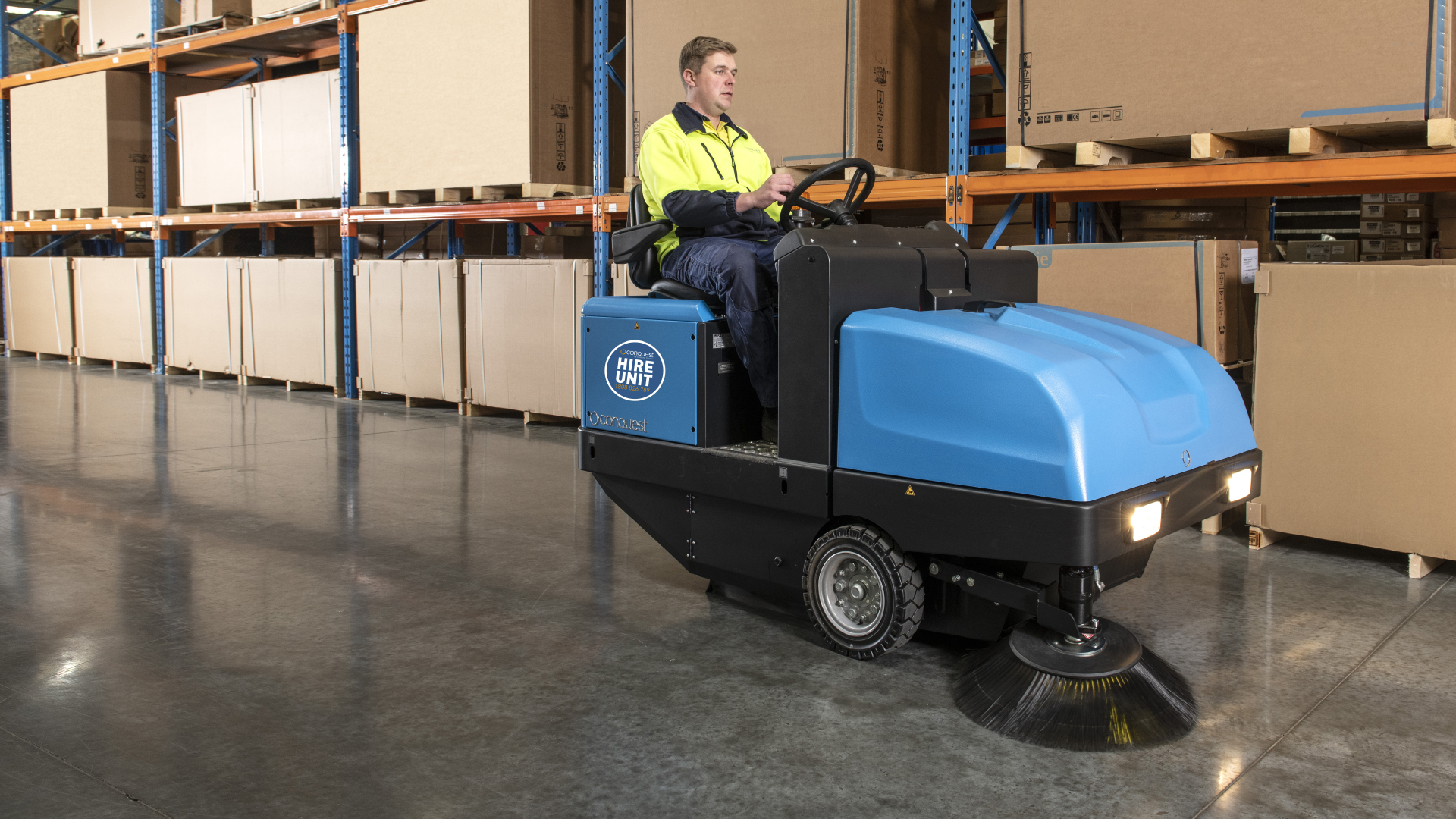 Conquest PB120 Power Sweeper available for SHort-Term Hire